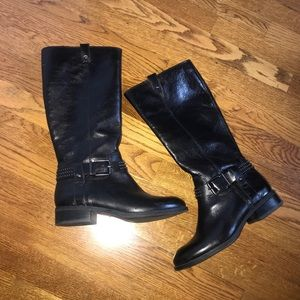 Jessica Simpson studded black leather boots size 8